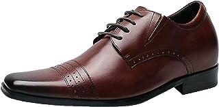 CHAMARIPA Zapatos De Aumento De Altura Zapatos Negro De Hombre Oxfords De Brogue Zapatos De Verano Taller 7cm