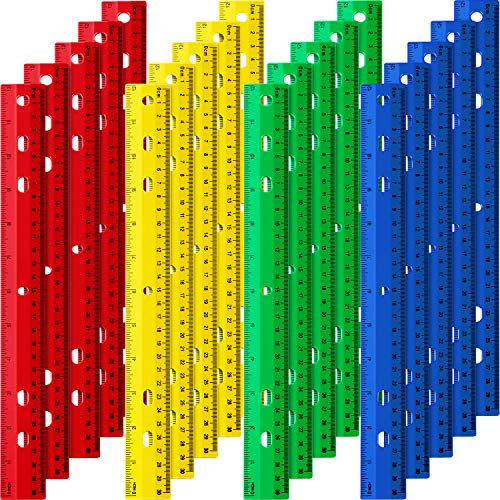 Chuangdi 20 Pieces 12 Inch Plastic Rulers, Straight Ruler Office Rulers School Rulers (4 Colors)