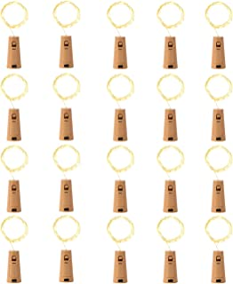 LEDIKON Upgraded 20 Pack 20 Led Wine Bottle Lights with Cork,3.3Ft Silver Wire Warm White Cork String Lights Battery Operated Mini Fairy Lights for Wedding Party Wine Liquor Bottles Bar Decor