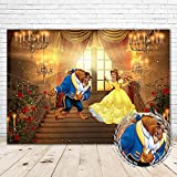 Beauty and The Beast Party Supplies Photography Backdrops 7x5 African Princess Belle Backdrop for Girls Vinyl Beauty and Beast Baby Shower Background Rose Palace Belle Tea Party Decorations Banners