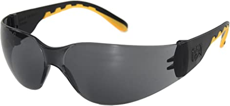 Caterpillar Track Safety Glasses, Black and Yellow, Smoke