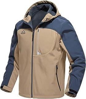 Gopune Men's Softshell Jacket Fleece Lined Waterproof Lightweight Hooded Coat