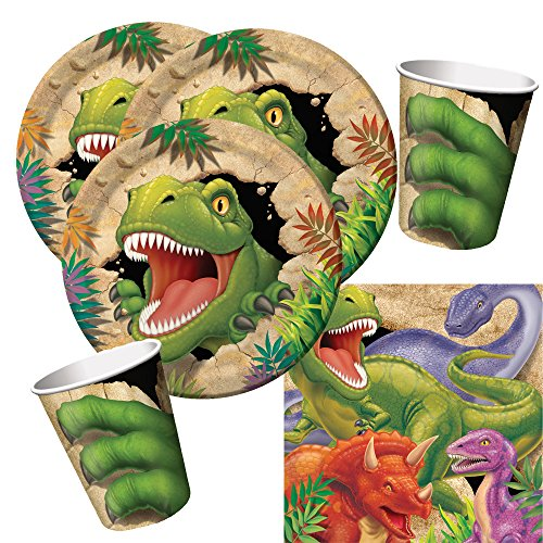 Creative Converting 32-teiliges Party-Set Dinosaurier - Dino - Alarm - Teller Becher Servietten für 8 Kinder