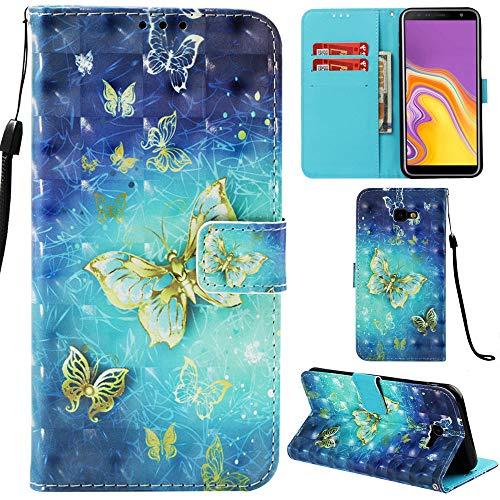 Ooboom Samsung Galaxy J4 Core Hülle 3D Flip PU Leder Schutzhülle Stand Handy Tasche Brieftasche Wallet Hülle Cover für Samsung Galaxy J4 Core - Schmetterling Gold