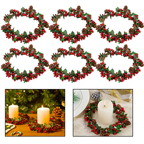 Set of 6 4inch Christmas Candle Ring- Xmas Artificial Beaded Berries Candle Rings with Pinecones Small Wreaths for Pillar Candle Holder Rustic Wedding Centerpiece Christmas Holiday Table Decoration
