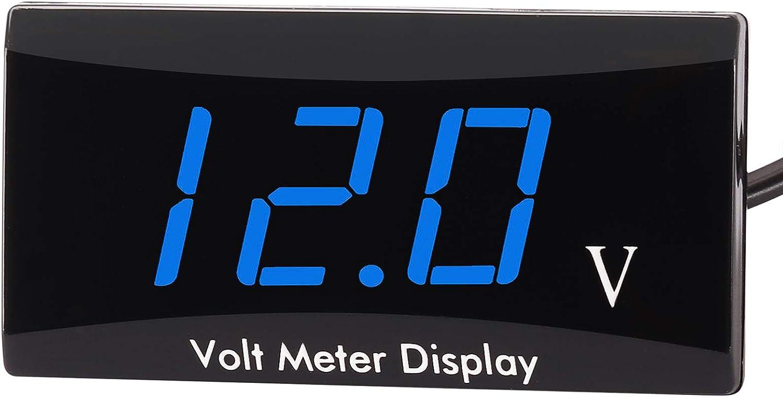 Kinstecks Verbesserte Version Motorrad Voltmeter Dc 12v Digital Voltmeter Anzeige Led Anzeige Spannungsmesser Für Motorrad Autobatterie Spannungswächter Weiß Auto