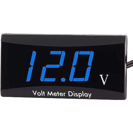 [Upgraded Version]Kinstecks Motorcycle Voltmeter DC 12V Digital Voltmeter Gauge LED Display Voltage Meter for Motorcycle Car Battery Voltage Monitor-Blue