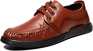 Ranipobo Men Lace up Style Microfiber Leather Lined Round Toes Walking Driving Shoes for Men (Color : Brown, Size : 7.5 UK)