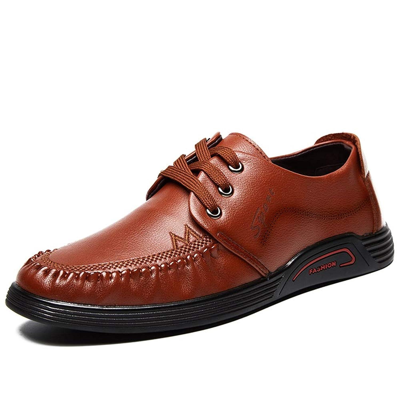 [MUMUWU] 男性用 レザー シューズ 快適 軽量 通気 カジュアル 防水 クラシック ファッション 靴 ビジネスシューズ