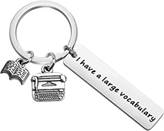 BAUNA Journalist Keychain Book Lovers Jewelry I Have A Large Vocabulary Literary Keychains Typewriter Jewellery Author Gifts