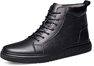 Xujw-shoes store, 2019 Mens New Lace-up Flats Mens High Top Skate Sneakers for Men Ankle Boots Grid Embossed Lace Up Easy Care Leather Flat Anti-Slip Round Toe (Fleece Inside Optional) Soft Black