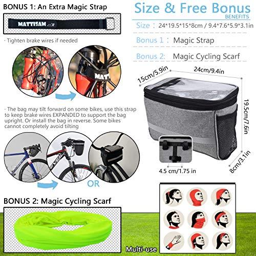 MATTISAM Bike Handlebar Bag, Bike Basket with   Mesh Pocket - Cold