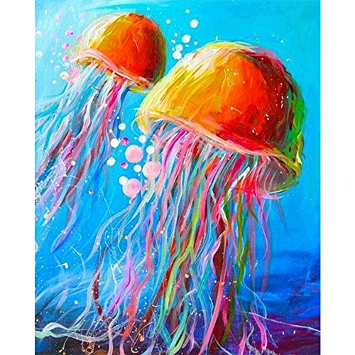 Cinhent Diamond Painting, 5D Embroidery Rhinestone Pasted DIY, Colored Sea Octopus, Abstract Art, Craft Stitch Supply for Living Room Wall Decor, 40 × 30CM