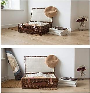 MU Ménage Portable Boîte De Rangement en Bois Massif, Rotin Europe du Nord Panier De Rangement Simple Créatif avec Couverc...