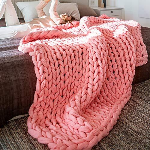 RAIN QUEEN Decke Handgefertigt Riese Klobig Sticken Werfen Sofa Decke Handgewebt Sperrig Decke Zuhause Dekor Geschenk(120*150CM, Pink)