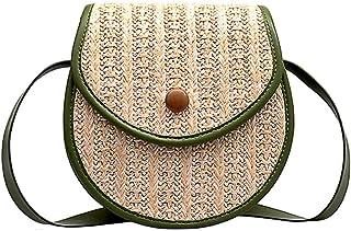 Wultia - Straw Shoulder Bag Flap Crossbody sac for Women Woven Bag Female Retro Beach Bolsos Rattan Bag Chain Wicker Bolsa Feminina #G8 Green