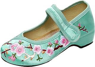 MUCHAO Filles Chaussures à Talons Plats avec Chaussures brodées pour Chaussures à Motif Prune