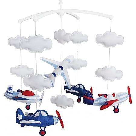 Avion Décoration de lit bébé Musique Berceau Mobile Cadeaux faits à la main Jouet suspendu