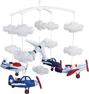 Avion Jouet de décoration de lit bébé Mobile musical musical pour berceau fait main en
