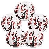 Just Artifacts Large 16-Inch Cherry Blossom Japanese/Chinese Paper Lanterns (Set of 5, Red Sakura)