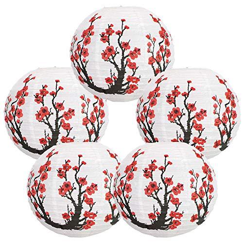 Just Artifacts 16-Inch Cherry Blossom Japanese/Chinese Paper Lanterns (Set of 5, Red Sakura)