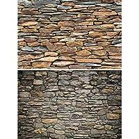 GREAT ART Set de 2 carteles XXL - paredes de piedra natural - revestimiento de paredes piedra gris y pizarra aspecto piedra diseño industrial decoración de la pared (140 x 100 cm)