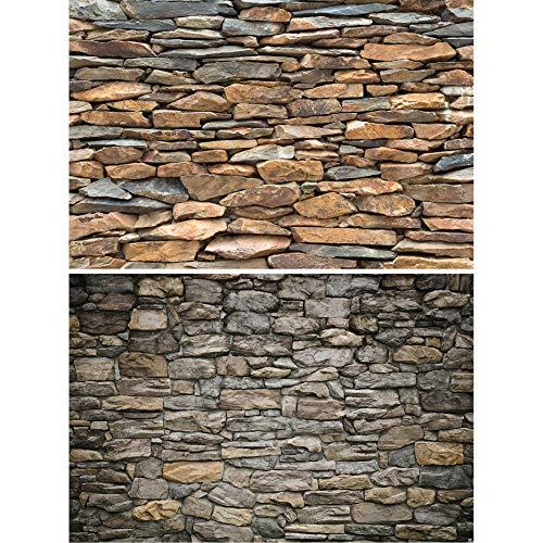 GREAT ART 2er Set XXL Poster – Natursteinwände – Schiefer & Graue Steinwand Wandverkleidung Steinoptik Industriedesign Wand-Bild Dekoration Fotoposter Wanddeko (140 x 100cm)