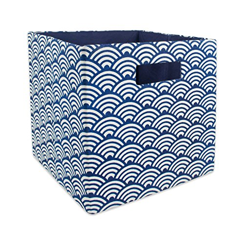 DII Hard Sided Collapsible Fabric Storage Container for Nursery, Offices, & Home Organization, (11x11x11) - Waves Nautical Blue