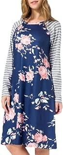 Women Casual Floral Dress 3/4 Sleeve Raglan T Shirt Dresses with Pockets