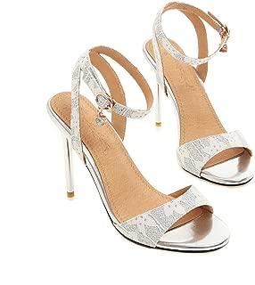 Women Sandals Pu High Heel Peep Toe Slingback Bead Buckle Twinkle Summer Sexy Pumps 34-43