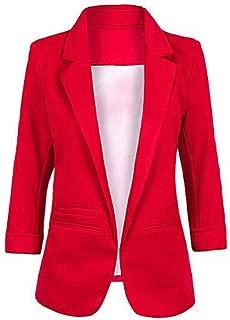 Women's Cotton Basic Boyfriend Ponte Rolled Blazer Jacket Suits