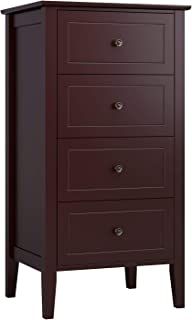 Homfa 4 Drawer Chest, Bathroom Floor Cabinet, Solid Wood Frame, Antique-Style Handles, Dressers for Bedroom, (37.4H x 20W x 16D inch) Easy to Assemble -Soft Dark Brown Finish