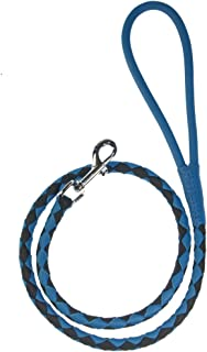 Dogline Soft and Padded Rolled Round Hand Braided Leather Leash for Dogs