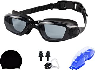 DIPIKI Swimming Goggles, Swim Goggles Anti Fog for Adult, silicone swimming cap, swimming nose clip and earplug combination,
