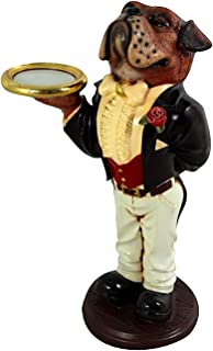 Boxing Boxer DOG butler statue Tuxedo gold tray 2' puppy waiter kitchen bar pub