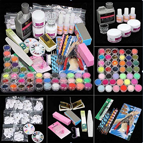 Gelnägel Starterset, Nagelstudio Starter Set,False Nails Kit mit Acrylpulver und Flüssigkeit für Maniküre-Nagelfeilen, Tragbare Nagelbohrmaschine für DIY Nail Art, Acryl Nagelset Komplett für Anfänger
