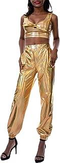 Mocure Women Baggy Hip Hop Pant Loose Chain Drawstring Hem Jogger Trouser with Pocket