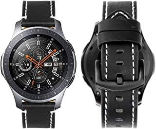 iBazal Gear S3 Frontier/Galaxy Watch Bands 46mm, Genuine Leather Breathable 22mm Wristband Replacement Strap for Samsung Galaxy Watch 46mm,Samsung Gear S3 Frontier/Classic SM-R760/Pebble Time - Black