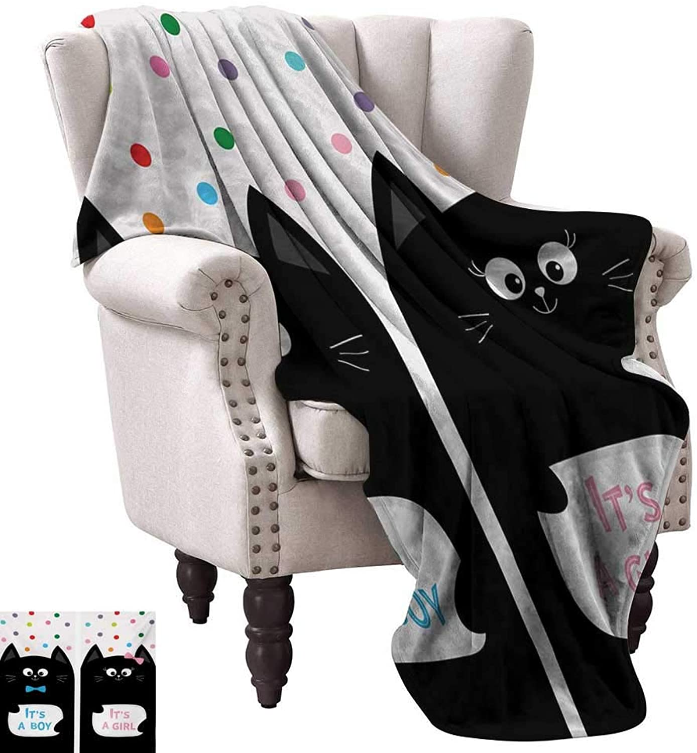 Anyangeight Warm Microfiber All Season Blanket,Its A Boy Cards with Cats Little Baby Cute Kitty Polka Dots Funny Print 60 x50 ,Super Soft and Comfortable,Suitable for Sofas,Chairs,beds