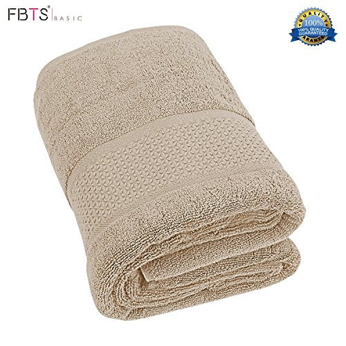 FBTS Basic Bath Towel 1Pack Brown 31x59 Inches Pure Cotton Luxury Highly Absorbent Extra Soft Professional Grade FiveStar Hotel Quality