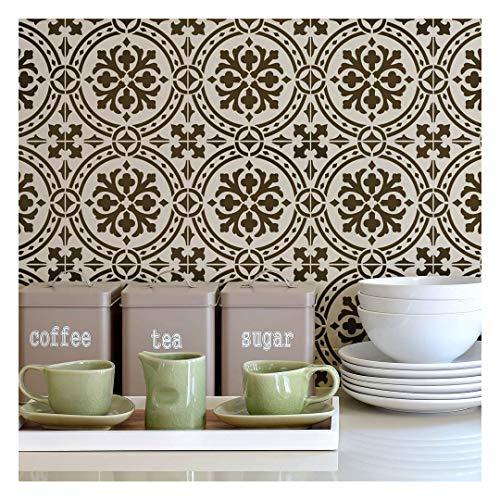 Calista Tile Stencil - Faux Cement Tile Stencils - DIY Floor Tiles - Reusable Stencils for Home Makeover (Large)