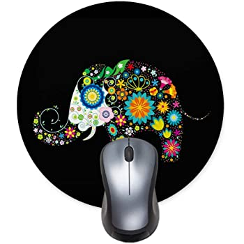 Printed Round Mouse pad, Colorful Flower Elephant Office Desktop or Gaming Cloth Surface Natural Rubber Round Mouse Mat (7.6x7.6 inch) Small Size