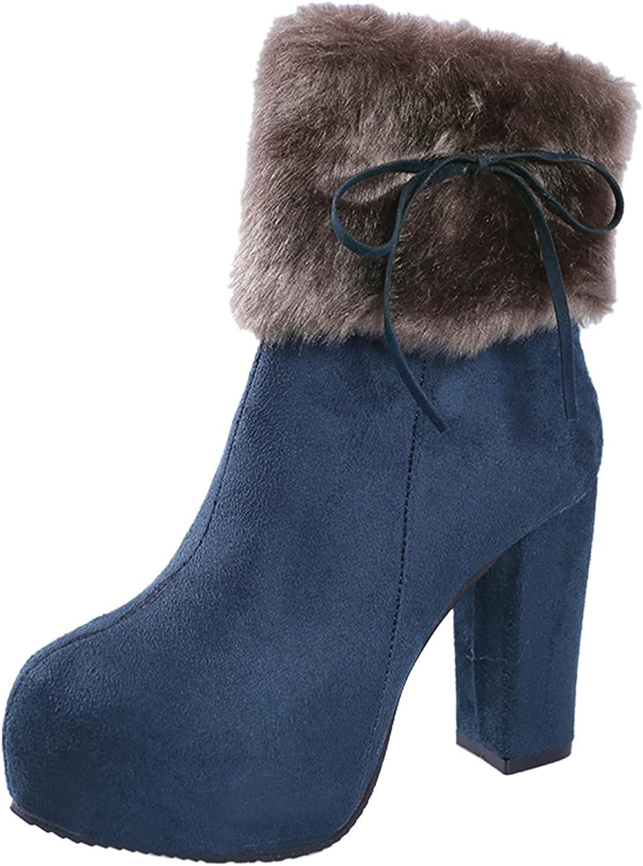 PMUYBHF Women's Snow Boot Fashion Boot Side Zipper Warm Booties Outdoor Anti-Slip Girls Walking Boots