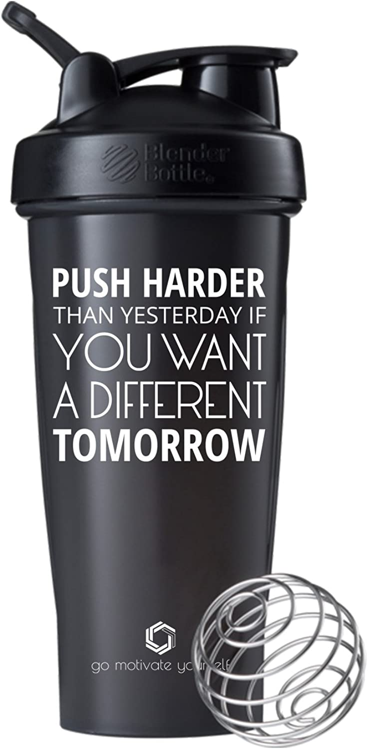 GOMOYO Push Harder on BlenderBottle Brand Classic Shaker Cup, 28oz Capacity, Includes BlenderBall Whisk