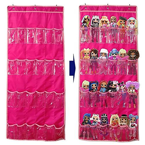 24 Tasche Trasparenti Borsa Porta Giocattoli Appesa alla Porta, Organizzatore per Bambole Barbie LOL Surprise per Bambini