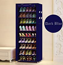 Aysis Shoe Racks Multipurpose Portable Folding Iron and Nonwoven Fabric 9 Tiers Shoe Rack Cabinet Storage Organizer with Zippered Dustproof Cover (Navy)