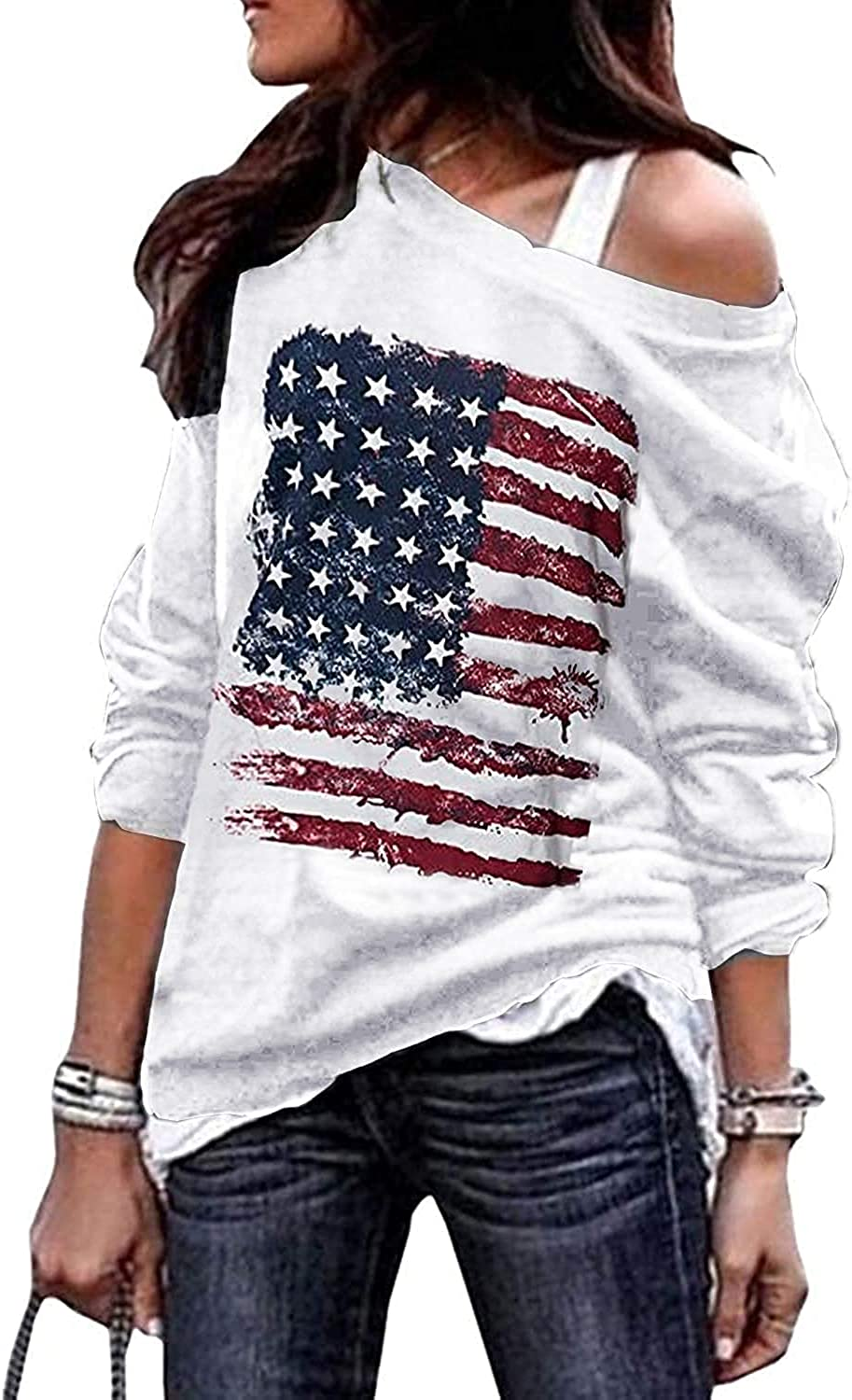 Fourth Industry No. 1 July USA American Flag Sweats Genuine Casual Off Shoulder Women's