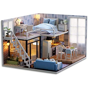 CUTEBEE Dollhouse Miniature with Furniture, DIY Wooden Dollhouse Kit Plus Dust Proof and Music Movement, 1:24 Scale Creative Room Idea(Blue time)