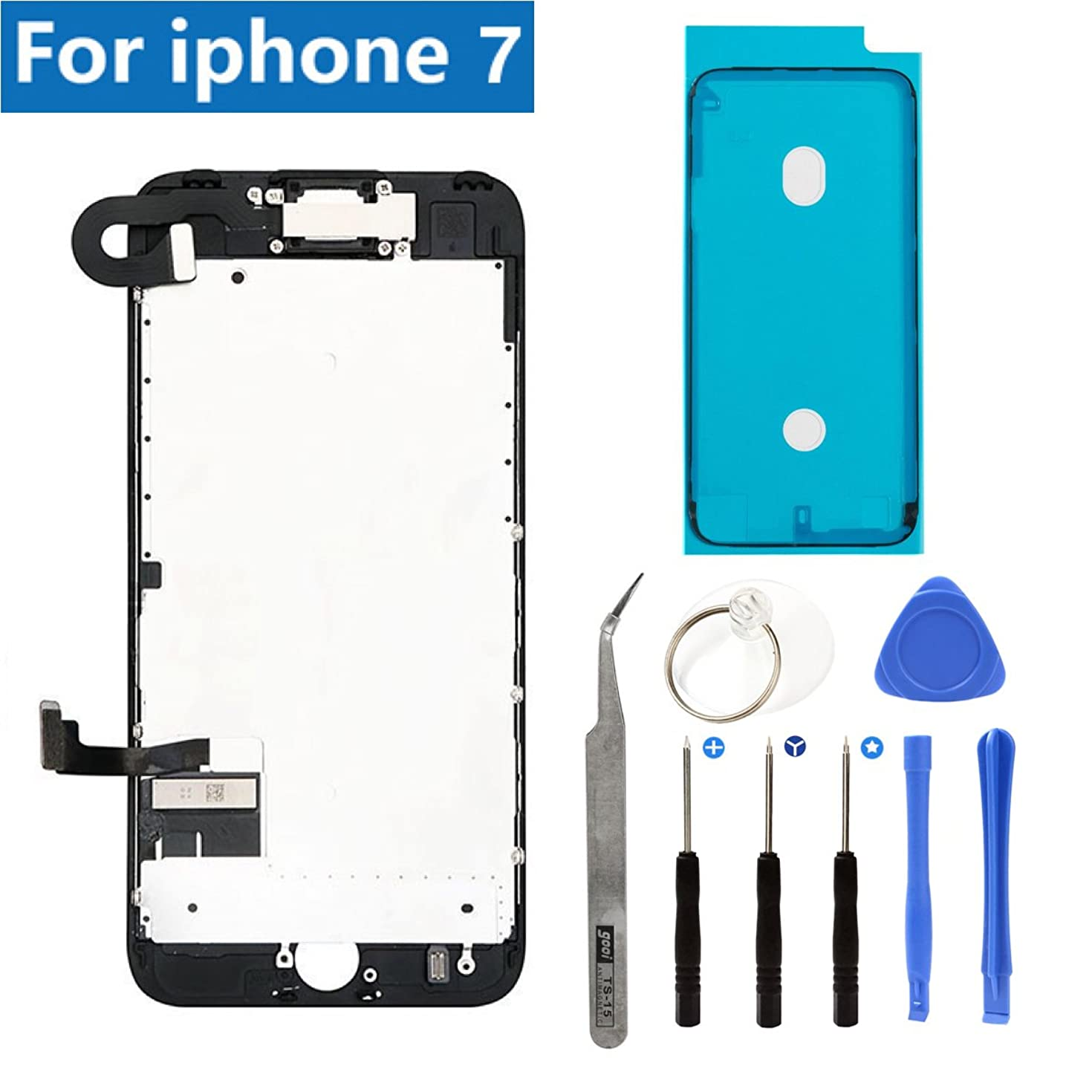Full Screen Replacement LCD Touch Assembly Front Camera Ear Speaker Shield Plate with Frame Adhesive and Repair Tools for iPhone 7 4.7 inch (Black)