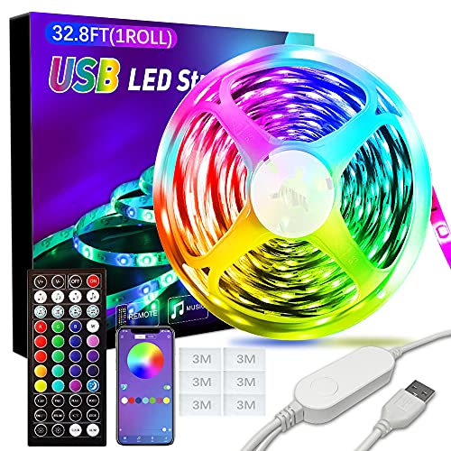 XBUTY Portable USB LED Light Strip 32.8ft, RGB LED Strip Lights with Remote and App Control, Music Sync, Smart Circuit Protection, LED Lights for Bedroom, Outdoor, Cabinet, TV, Home Decoration